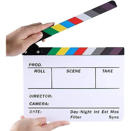 Electomania Movie Directors Clapboard, 11.8x9.5 Photography Studio Video TV Acrylic Clapper Board Dry Erase Film Slate Cut Action Scene Clapper (White)