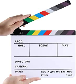 Electomania Movie Directors Clapboard, 11.8x9.5 Photography Studio Video TV Acrylic Clapper Board Dry Erase Film Slate Cut...