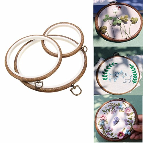 ARTISTORE 3 Pieces Embroidery Hoops Cross 4.3inch(S), 5.7inch(M), 7.4inch(L) Stitch Hoop Embroidery Circle Set For Art Craft Handy Sewing
