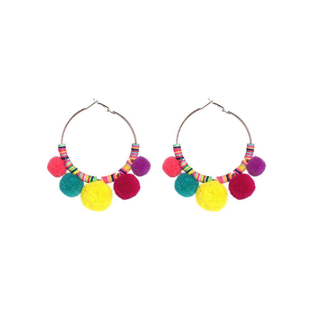 rainbow earrings, rainbow pom poms pom pom earrings hoop earrings