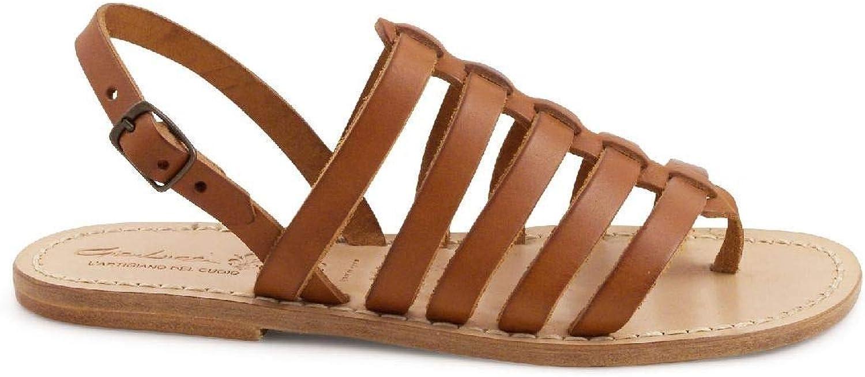 GIANLUCA - L'ARTIGIANO DEL CUOIO Women's 1808BROWN Brown Leather Flip Flops