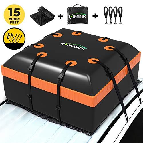 LIMINK Box da tetto auto pieghevole, impermeabile, con tappetino antiscivolo + 4 ganci per porte, adatto per tutti i veicoli con o senza portapacchi, 15 piedi cubi