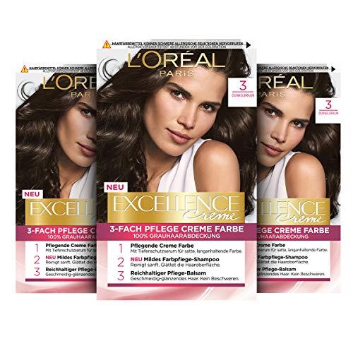 L'Oréal Paris Excellence Creme Permanente Haarfarbe, 100% Grauhaarabdeckung, Haarfärbeset mit Coloration, Shampoo und 3-fach Pflegecreme, 3 Dunkelbraun, 3 x 268 g