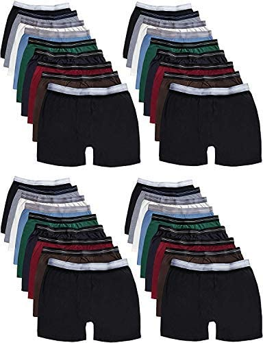 36 Pack Of Mens 100% Cotton Boxer Briefs Underwear, Great for Homeless Shelters Donations, Bulk, Assorted Colors