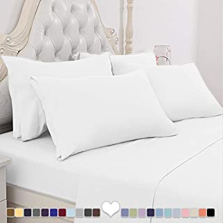 BYSURE Luxury Bed Sheets Set 6 Piece - Ultra Soft 1800 Thread Count Double Brushed Microfiber, Deep Pockets, Wrinkle & Fade Resistant Cooling Bed Sheets(Queen, White)