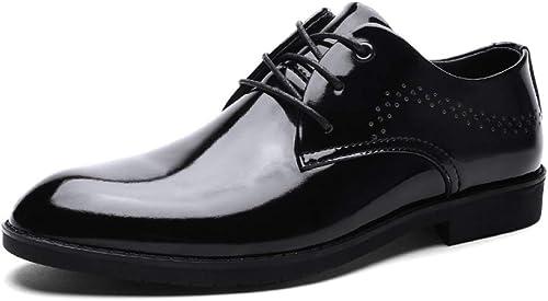 YongBe Faible-Top Hommes Chaussures à Lacets Derby Robe d'affaires Chaussures Mariage Décontracté Bout Pointu Intelligent Chaussures en Cuir