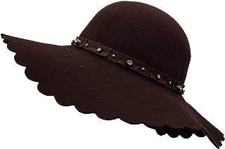 Women's Wide Brim Wool Ribbon Band Floppy Hat