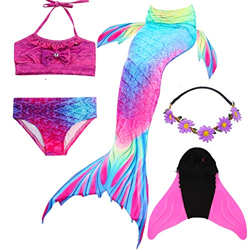 COZY HUT 2019 Mädchen Meerjungfrau Schwanz Badeanzug - Prinzessin Cosplay Bademode für das Schwimmen mit Bikini Set und Monoflosse,3-12 Jahre alt