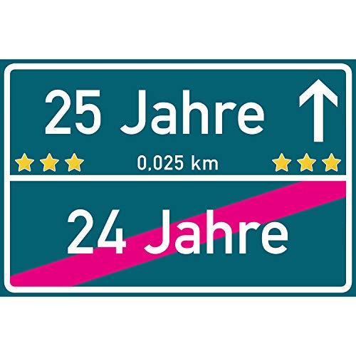 vanva 25 Geburtstag Geschenk Schild 300 x 200 x 3mm Ortsschild Dekoration Geschenke zum 25. Geburtstag Männer und Frauen Mehrfarbig