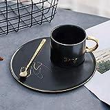 マグノルディックゴールドブラックコーヒーカップセラミックカップソーサースリーピースオフィストレイセラミックカップホースドッグパーフェクト