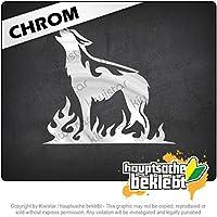 炎のオオカミ Flame wolf 11cm x 11cm 15色 - ネオン+クロム! ステッカービニールオートバイ
