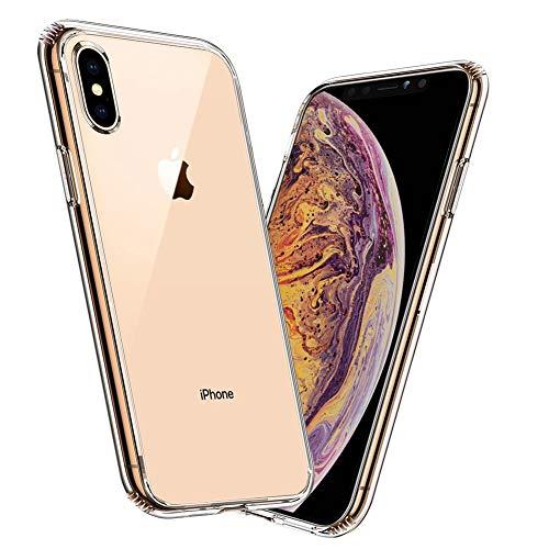 Meidom Glas Hülle Kompatibel mit iPhone XS Max Hülle Durchsichtig Glas Back Schutzhülle [Kratzfest] TPU Rahmen [Stoßfest] All-Fingerprint Soft Slim Handyhülle für iPhone XS Max - Klar 6,5 Zoll