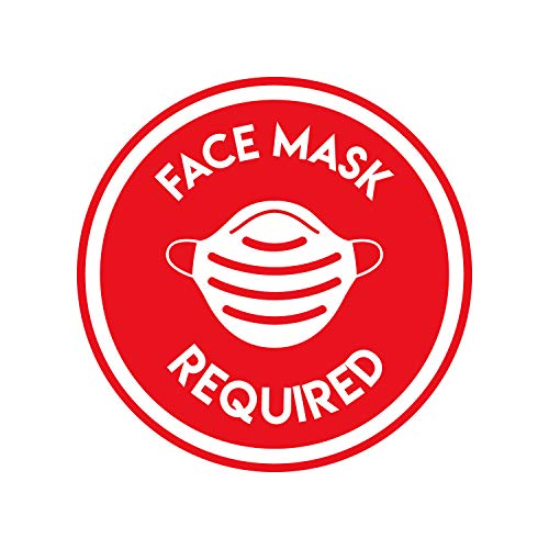Vinyl Wall Decal - No Hand Shaking/Face Mask Required - 17' x 17' - Safety Sign Social Distancing Warning Sticker for Business Offices Stores Storefront Customers (Red, Face Mask)