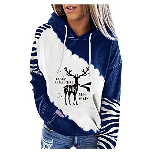 MEIPIQI Sudadera con capucha para mujer de Navidad, estampado de cartas, jersey de manga larga, sudadera para mujer, vestido deportivo, suelto, casual