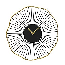 WHW Whole House Worlds Modernist Metal Burst Wall Clock, Quartz Movement, Black Spokes, Gold Gilt Hands and Halo Rim, 13.75 Inches, 1 AA Battery (Not Included) Analog