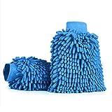 Aodoor Car Wash Mitt, Microfiber Car Wash Mitt Polishing Drying Gloves for Car Window Washing Home Cleaning Cloth Duster Towel Mitten,Blue
