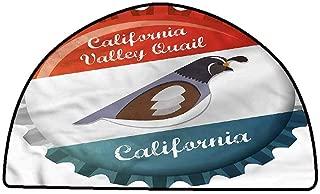 Floor Mats for Living Room Quail,California Valley Graphic,W47 x L31 Half Round Non-Slip Area Rug Pad