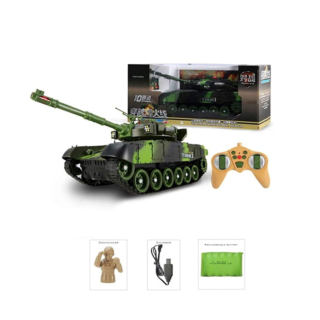 寛大な小石ファシズムW1XX リモートコントロールアーマードカースタントのおもちゃの車、子供のリモートコントロールタンク、シミュレーション大規模戦闘モデルキャノン子供のおもちゃの少年の車は追跡充電で充電することができます W1XX (Color : Green, Size : 33cm)