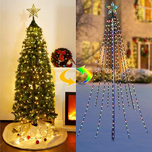 Twinkle Star Christmas Tree Lights with Star Topper, Curtain Fairy Lights RGB Color Changing, 8 Lighting Mode, Warm White & Multicolor with Remote, Indoor/Outdoor Light Show for Xmas Tree Decor