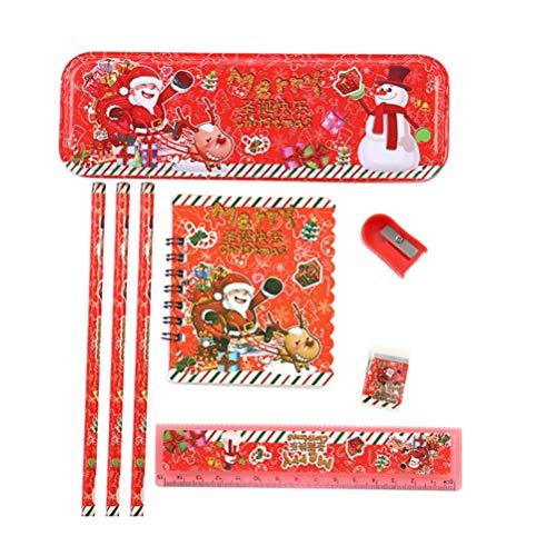 Toyvian weihnachtsbriefpapier set federmäppchen radiergummi spitzer otebook herrscher weihnachtsschule präsentiert gastgeschenke festival geschenkset