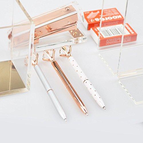 3 Pcs Rose Gold Pen with Big Diamond/Crystal ,Metal Ballpoint Pen,Rose Gold/Silver Office Supplies,Black Ink (3pcs) Photo #9