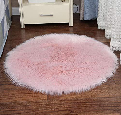 LAMEDER Moderno Dormitorio Engrosamiento de la Alfombra Peluda de Escalada, imitación ovejas Dormitorio Junto a la Cama Alfombra Redonda mullida Alfombra Interior, rosa-150 × 150 cm
