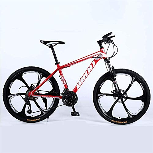 HCMNME durable bicycle Adult Mountain Bike, Beach Snowmobile Bicycle, Double Disc Brake Bikes, 26 Inch Aluminum Alloy Wheels Bicycles, Man Woman General Purpose Alloy frame with Disc Brakes