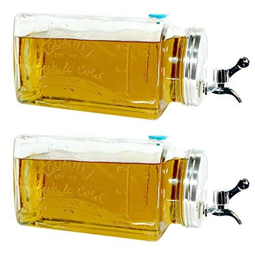 2er Set Glas Getränkespender mit Zapfhahn 3l Wasserspender Saft Cocktail Spender Dispenser Saftspender Retro Glaskrug Getränke mit Hahn