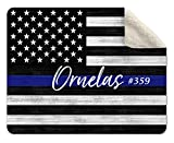 Pretty Perfect Studio Thin Blue Line Blanket Personalized | 50x60 Custom Law Enforcement Gift for Police Officer