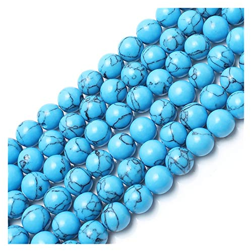 JINSUO NWXZU Blue Line Turquoise Beads Round Loose Stone Beads For Jewelry Making Fit DIY Bracelet Necklace 4/6/8/10/12mm 15 Inches (Size : 10mm 34pcs beads)