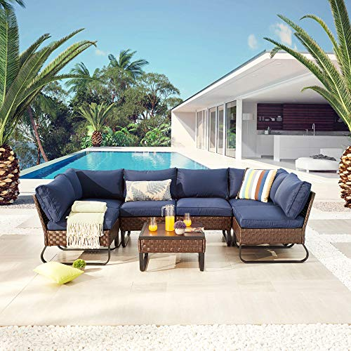 LOKATSE HOME 7 Piece Patio Rattan Sofa Sectional Outdoor Furniture Wicker Combination Conversation Set U-Shaped Leg Design of Cushioned Chairs and Coffee Table, Blue