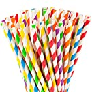"Paper Straws Biodegradable 200 Pack Striped Multi Colored BPA-Free Disposable 8.25"" Long Non-Flexible Straw for Everyday/Birthday Party/Wedding - By DuraHome (200 Pack)"