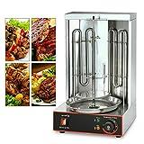 Grill Vertical pour Kebab, Rôtissoire Rotatif Kebab Machine Grill Rôtissorie Verticale avec Deux Tuyaux de Chauffage à Rotation de 360º 3000W