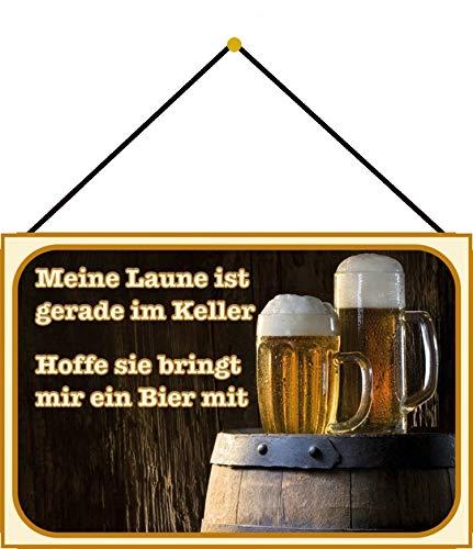 FS con scritta 'Birra Meine Laune im Keller'. Targa in metallo bombata in metallo, 20 x 30 cm, con cordoncino.
