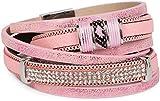 styleBREAKER Vintage Wickelarmband mit Strass, Gliederkette und Magnetverschluss, 3-Reihig, Armband, Damen 05040024, Farbe:Antik-Rosa