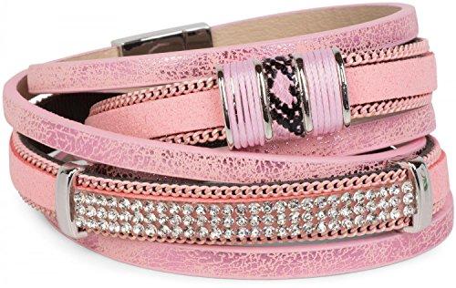 styleBREAKER Bracciale Vintage con Strass, Catena Scorrevole e Chiusura Magnetica, a 3 File, Bracciale, Donna 05040024, Colore:Antico-Rosa