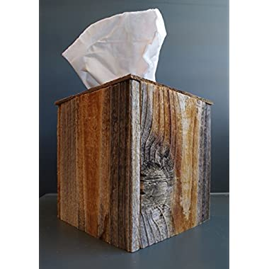 Rustic Reclaimed Barn Wood Square Tissue Box Cover Kleenex Box Holder
