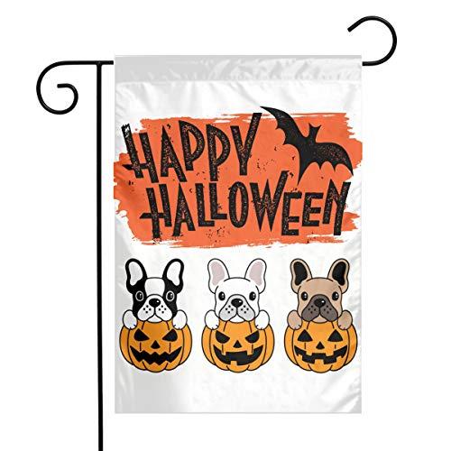 JIHUILAI Bulldog Pumpkin HalloweenGardenFlag For HalloweenDecorations ChristmasDecorations 12 X 18 Ft