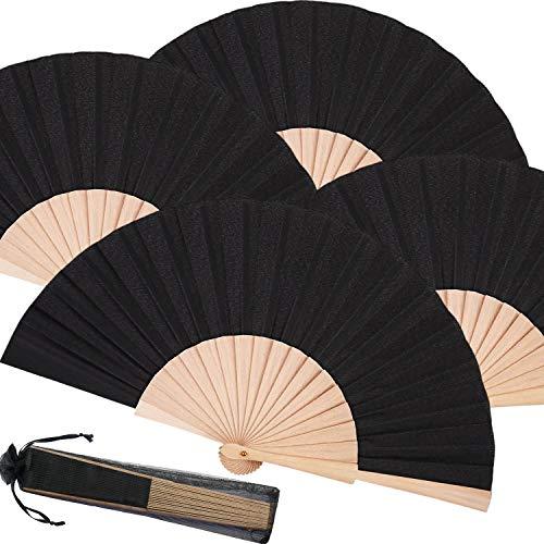 Chuangdi 4 Piezas Abanico Plegable de Madera y Tela Abanico de Mano Artesanal Decorativo Abanico de Regalo con Bolsas de Organza con Cordón para Hombres Mujeres Niñas (Negro)