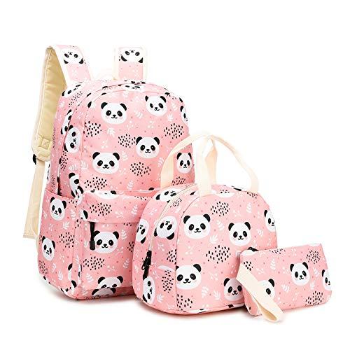 Elementary School Bag, Panda Pattern Bookbag Lunch Bag Pencil Case Three-Piece Backpack for Children Boy And Girl