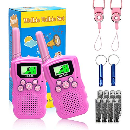 ADDUBEAU Walkie Talkies for Kids, 2 Pack Walky Talky Outdoor Toys with Flashlight & LCD Screen, 22 Channels 2 Way Radio Walkie-talkies for Boys & Girls, Gift Toy for Camping Adventure (Pink)