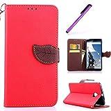 EMAXELERS Funda Motorola Nexus 6 Premium PU Cuero Cartera para Tarjetas y Cierre Magnetico Soporte Plegable Funda Protectora para Motorola Nexus 6 Red Leaf Case