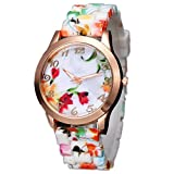 vanki Fashion Women Geneva Floral Pattern Silicone Jelly Gel Quartz Analog Wrist Watch