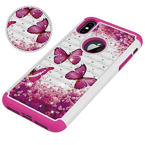 SHRHSJSJK Bling Diamond Soft TPU + pc 2 en 1 Couverture arrière pour iPhone XS Max/XR Cas de téléphone Armor pour iphone X XS 6 6s 7 8 Plus Coque Shell
