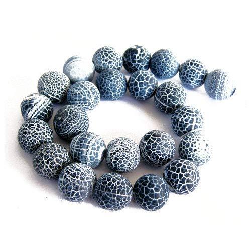 Fil De 38+ Gris Agate Givré Craquelée 10mm Rond Perles GS16124-3 (Charming Beads)