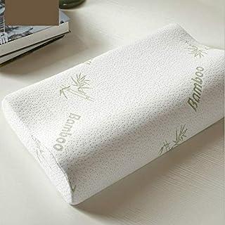 Whbage - Almohada estándar de fibra de bambú (40 x 25 cm, almohada de espuma viscoelástica, saludable, transpirable, alivio ortopédico de la fatiga del cuello