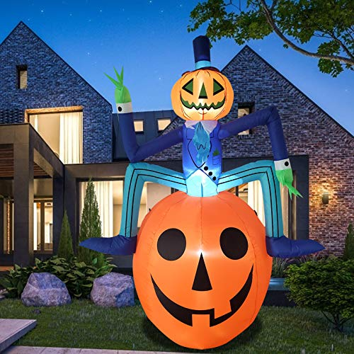 Poptrend Halloween Inflatable 6Feet Mr. Pumpkin Halloween Decorations Outdoor, LED Lights, Outdoor Indoor Holiday Decorations, Blow up Lighted Yard, Lawn,Home, Family Decor. (Mr. Pumpkin-6feet)