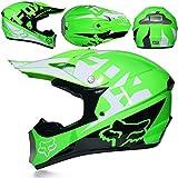 SISI Casco Motocross, Casco Moto Todoterreno para Niños, Casco Rally para Hombres Mujeres con Gafas Máscara Guantes, Casco Protección Junior con Diseño Fox, Verde,XL