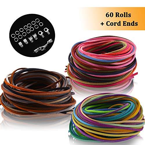 60 Farben 1M x 3mm Lederschnur Lederband Veloursleder band faden für DIY Armband Halskette Schmuck Handwerk, Set mit 100pcs Schnurenden und 20pcs Schlüsselhänger von SOSMAR