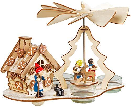 Wichtelstube-Kollektion Weihnachtspyramide mit Räucherhaus f. Teelichter Hänsel und Gretel